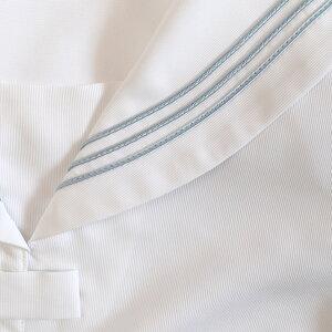 KURI-ORI★クリオリ前開き白セーラーブラウス白エリグレーライン半袖サイズS・M・L【日本製】着脱簡単!お手入れ簡単!ストレッチ吸汗速乾エリ一体型透け防止