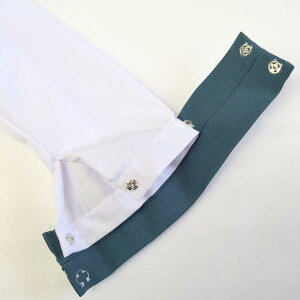 KURI-ORI★クリオリ白セーラートップス・グリーン襟長袖KR19414H【日本製】白ボディにスモーキーなグリーン×白ラインの襟とカフスのセーラー服制服・通学服・レギュラーサイズ