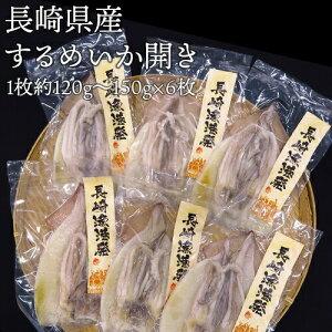 長崎県産 スルメイカ 開き 生開き 干物 1枚120〜150g×6枚 無添加 送料無料