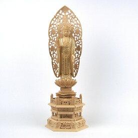 仏像 釈迦如来 立像 5.0寸 草光背 六角台 桧木切金 釈迦如来像 曹洞宗 臨済宗 天台宗 禅宗 本尊 お釈迦様