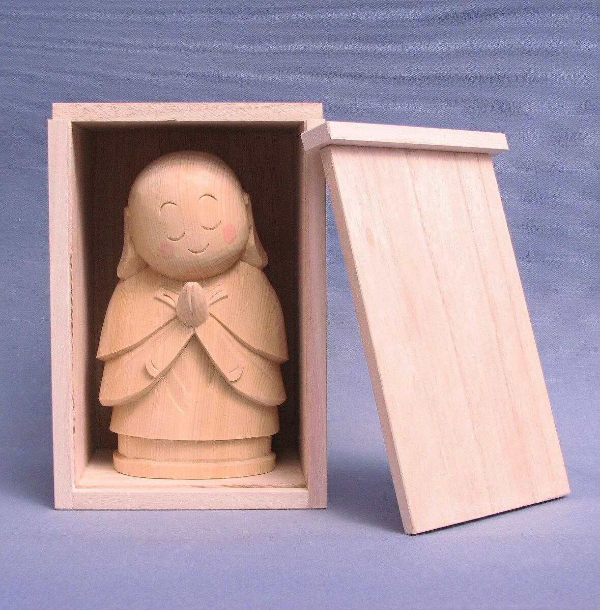 仏像 お地蔵さん 桐箱付き 15cm 桧木 檜 ヒノキ お地蔵様 置物 縁起物 ギフト プレゼント