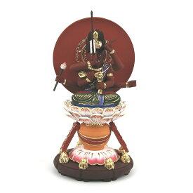 仏像 天弓愛染明王 座像 2.0寸 円光背 円台 桧木彩色