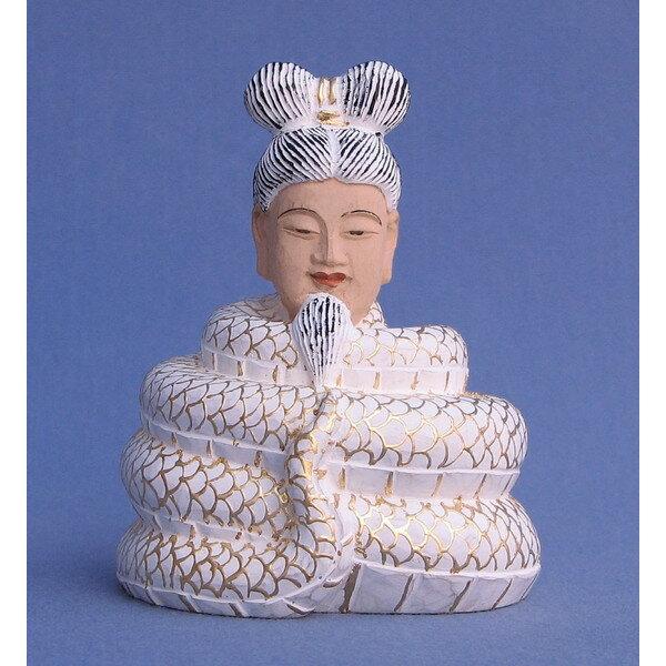 仏像 宇賀神 翁像 白蛇 総高8cm 桧木彩色