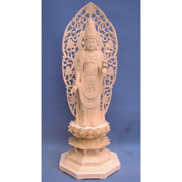 仏像 聖観音菩薩立像 総高85cm 草光背八角台 桧木 【受注生産】