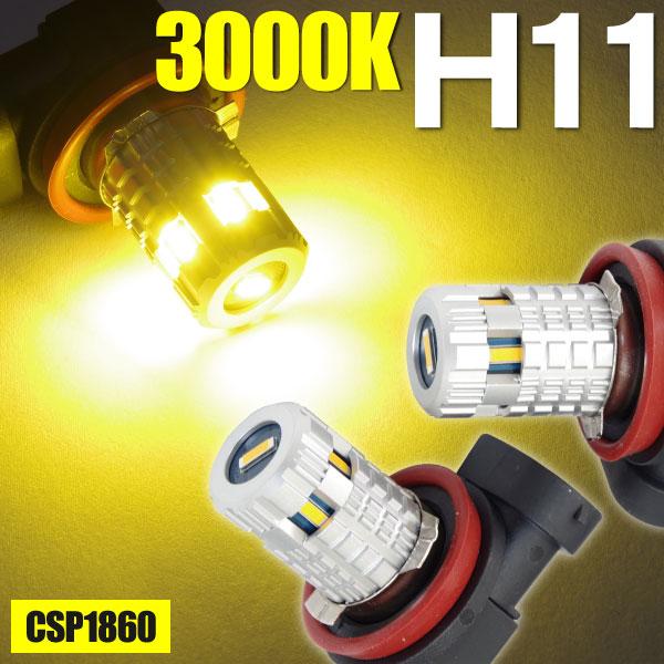 RAV4 (MC後) ACA3#系 H20.9〜 リアスペアタイヤ付 LED H11 48W フォグ イエロー 3000K 2本セット (送料無料)