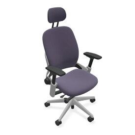 スチールケース リープチェアヘッドレストプラチナフレーム USモデル K-46216179P/6249 13色クロス張り 肘/ランバーサポート付き Steelcase LEAP オフィスチェア オフィス家具 正規代理店 事務椅子