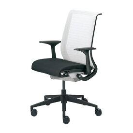 【オフィスチェア アウトレット】スチールケース シンク 13101型 ブラックフレーム 肘付き 背:3Dニットホワイト ・座:クロス オフィスチェア Steelcase THINK