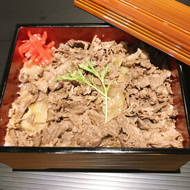 秘伝のタレに和歌山県産黒毛和牛の熊野牛スライスを使用した贅沢な牛丼の具