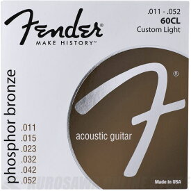 Fender Phosphor Bronze Acoustic Guitar Strings, Ball End, 60CL .011-.052 Gauges, 《アコースティックギター弦》【ネコポス】【ONLINE STORE】