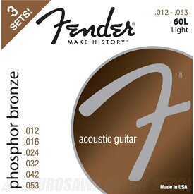 Fender Phosphor Bronze Acoustic Guitar Strings(12-53)《アコースティックギター弦》【ネコポス】【ONLINE STORE】