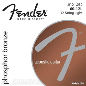 Fender Phosphor Bronze 12-String Acoustic Guitar Strings(10-50)《アコースティックギター弦》【ネコポス】【ONLINE STORE】