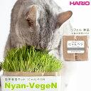HARIO 猫草栽培キット にゃんベジ リフィル2パック ■ ハリオ 栽培キット 毛玉 ヘアボール えん麦 猫のおやつ 猫用品