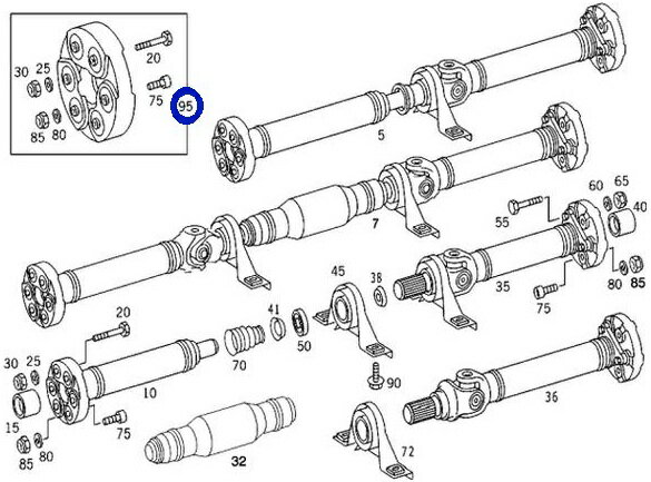 ベンツ W140 W220 W215 R129 W124/LEMFORDER製 コンパニオンジョイントディスク プロペラシャフト新品 129-410-0115