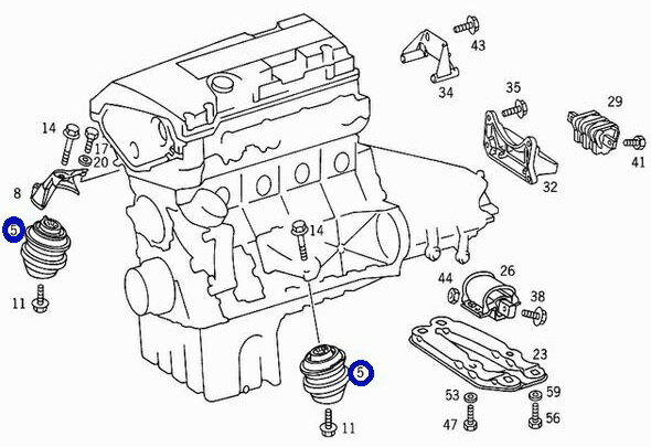 ベンツ W210 W202 W203 W208 R170/LEMFORDER製 エンジンマウントブッシュ (1個) 202-240-1717