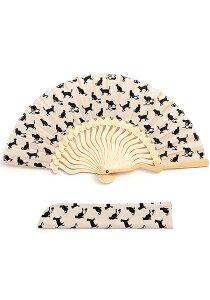 扇子 Tail クリーム 扇子袋付き | せんす ギフト プレゼント 夏 おしゃれ 祭り 小さい お茶 茶道 お稽古 ブランド 猫 ネコ ベージュ