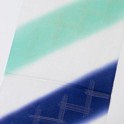 正絹帯揚げ 絽 縫い取りたづなぼかし 青磁/群青