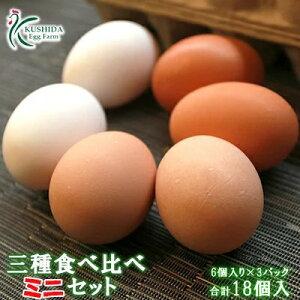 櫛田養鶏場の三種食べ比べ☆ミニ☆セット18個入り【名古屋コーチンの卵(6個)+おいしい赤卵(6個)+おいしい白卵(6個)】お試し商品と同容量で何度も注文可能!送料無料 食品 鶏卵 卵 たまご