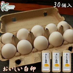 櫛田養鶏場のこだわりのエサを食べてうまれた美味しい白卵【30個入り(破卵保障3個含む)】送料無料!!