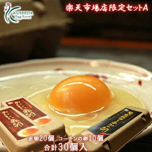 【楽天市場店限定セットA】高級名古屋コーチンの卵(10個入り)+おいしい赤卵(20個入り)内3個割れ保障含む【送料無料】合計30個入り 食品/卵/鶏卵/30個/お得/お試し