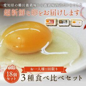 【お一人様1回限り2セットまで】櫛田養鶏場の三種の卵☆お試し食べ比べセット!18個入り【名古屋コーチンの卵(6個)+おいしい赤卵(6個)+おいしい白卵(6個)※各種5個+1個破卵保証】送料無料!超新鮮な卵を養鶏場から直送!食品 鶏卵 卵 たまご 玉子 お試し 食べ比べ