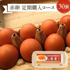 【定期購入】\臭みのないおいしい卵/くしたま 赤卵【30個入り(27個+破卵保障3個)】櫛田養鶏場の自家配合飼料を食べてうまれた美味しい赤卵 卵 送料無料 玉子 たまご 食品 鶏卵 普段使い