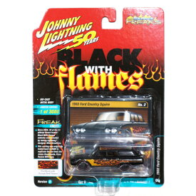 JL-158 JOHNNY LIGHTNING STREET FREAKS 2019 REL.2 VER.B - 1960 Ford Country Squire in Gloss Black with Wooden Brown Flames - Black with Flames