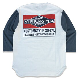 """KUSTOMSTYLE KST1916WHIND7 """"SOUP UP&RESTYLING"""" WHITE/INDIGO BLUE 3/4 SLEVE Tシャツ"""
