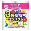 日本製紙 クレシア スコッティ フラワーパック 3倍長持ち ダブル (4ロール) トイレットペーパー くすりの福太郎