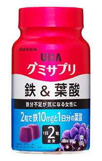 UHA味覚糖 グミサプリ 鉄&葉酸 30日分 アサイーミックス味 (60粒) サプリメント 栄養機能食品 くすりの福太郎