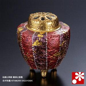 九谷焼 3.2号 香炉 赤彩 北村和義