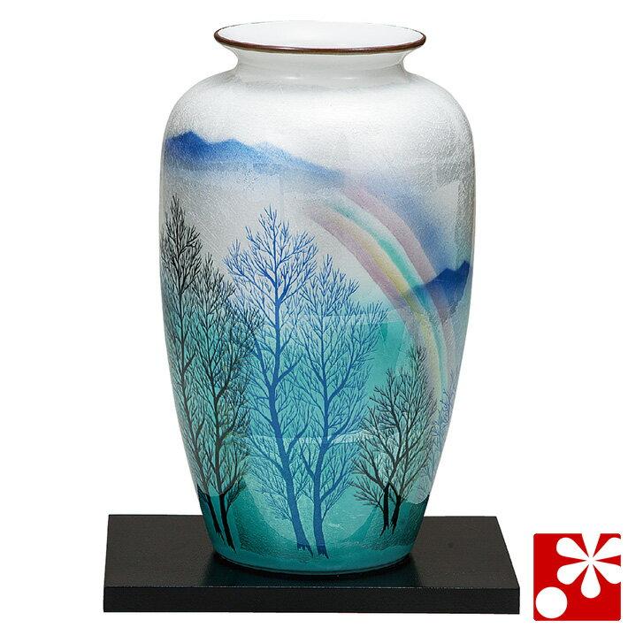九谷焼 10号 花瓶 銀彩虹木立(飾台付)( 大きな サイズ )