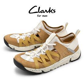 【セール絶賛開催中】送料無料 クラークス CLARKS トライ トラック フロー スニーカー メンズ ブラウン ホワイト 白 茶 ローカット シューズ 靴 軽量 TRAI TRACK FLOW 26134553