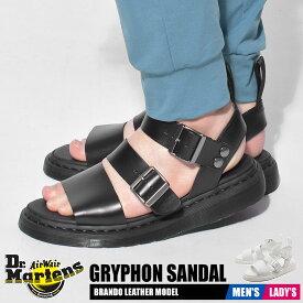 【お盆セール中】 ドクターマーチン サンダル レディース メンズ グリフォン ブラック ホワイト 黒 白 靴 シューズ レザー 本革 ベルト ストラップ コンフォート Dr.Martens GRYPHON SANDAL 15695001 16821100