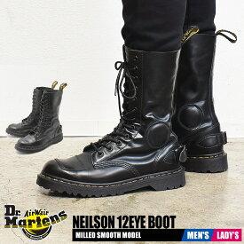 【お盆セール中】 ドクターマーチン 12ホール レディース メンズ ニールソン ブーツ ブラック 黒 靴 シューズ ロングブーツ バイカー レザー カジュアル Dr.Martens NEILSON 12EYE BOOT 23702001