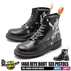 ドクターマーチン DR.MARTENS メンズ レディース ブーツ 1460 8ホール セックス・ピストルズ 靴 シューズ 革靴 本革 レザー ブランド カジュアル レースアップ 黒 セックスピストルズ パンク コラボ 8EYE BOOTS SEX PISTOLS 24789001 送料無料