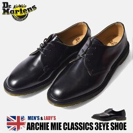 【50周年クーポン発行中!】 ドクターマーチン 3ホール メンズ アーチー MIE クラシック ブラック 黒 靴 シューズ 革靴 レザー 短靴 ビジネス プレーントゥ シューズ 英国 靴 Dr.Martens ARCHIE MIE CLASSICS 3EYE SHOE 14348001