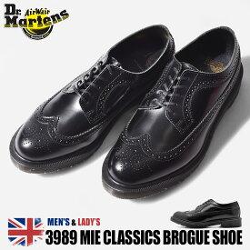 【50周年クーポン発行中!】 ドクターマーチン ブローグシューズ 3989 MIE クラシック 革靴 メンズ ブラック 黒 靴 シューズ レザー 革 ウィングチップ 短靴 英国 Dr.Martens 3989 MIE CLASSICS BROGUE SHOE 16500001