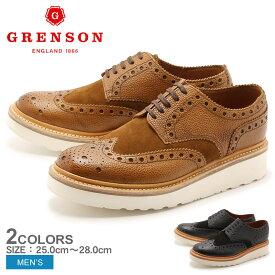 送料無料 グレンソン GRENSON アーチー ウィングチップ ブラック タン 全2色 GRENSON 5067-42645V 5067-42357V ARCHIE V メンズ(男性用) 短靴 コンビ ウイングチップ レザーシューズ