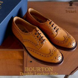 トリッカーズ TRICKER'S バートン ウィングチップ シューズ メンズ ダブルレザーソール ウイング カントリー カジュアル レザー シューズ 革靴 短靴 靴 ブラウン 茶 BOURTON 5633/4