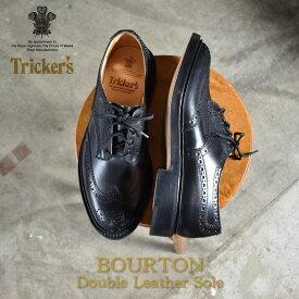 トリッカーズ TRICKER'S バートン ウィングチップ シューズ メンズ ダブルレザーソール ウイング カントリー カジュアル レザー シューズ 革靴 短靴 靴 ブラック 黒 5633/67