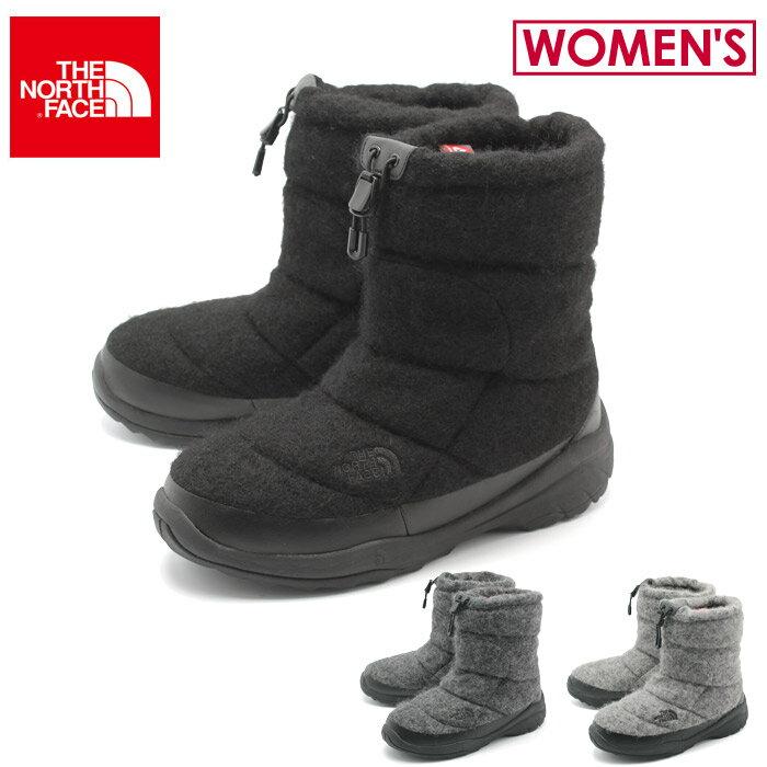 ノース フェイス THE NORTH FACE スノーブーツ ヌプシブーティウォータープルーフウールラックスIII レディース ブラック グレー 黒 靴 ブランド ショートブーツ 防水 シューズ アウトドア 女性 (NF51788 KK MK GK Nuptse Bootie WP Wool Luxe 3) 送料無料