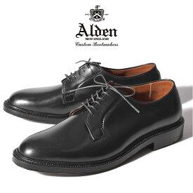 オールデン ALDEN メンズ シューズ プレーン トゥ ブルッチャー オックスフォード ブラック 黒 コードバン 馬革 プレーントゥ レザーソール PLAIN TOE BLUCHER OXFORD 9901