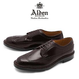 オールデン ALDEN コードバン シューズ ロング ウィング ブルチャー オックスフォード メンズ ウィングチップ トラディショナル ビジネス フォーマル 革靴 短靴 紳士靴 バーガンディー LONG WING BLUCHER OXFORD 975 8 送料無料