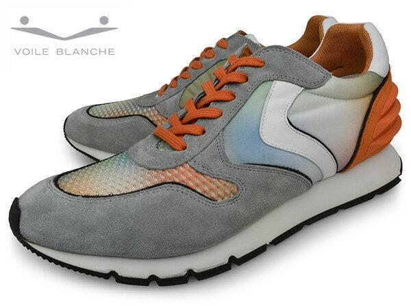 VOILE BLANCHE 9112 GREY/ORANGE LIAM POWER ボイルブランシュ メンズ スニーカー ローカット 靴 くつ 送料無料 イタリア ブランド グラデーション メッシュ スエード スポーツ グレー オレンジ