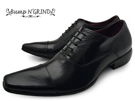 Bump N' GRIND バンプ アンド グラインド メンズ ビジネスシューズ 本革 ロングノーズ スクエアトゥ ストレートチップ 内羽根 革靴 紳士靴 ブラック BG-6031 BLACK ドレスシューズ 送料無料 就活 靴 くつ