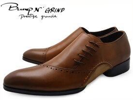 Bump N' GRIND バンプ アンド グラインド prestige grade プレステージグレード bg-7011 BROWN メンズ ビジネスシューズ 本革 サイドシューレース ドレスシューズ 革靴 紳士靴 就活 靴 くつ 父の日 ギフト