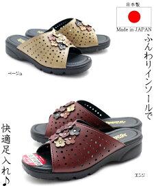 【日本製】とっても柔らかいレディース花付きつっかけ サンダル ウレタンサンダル ミュール