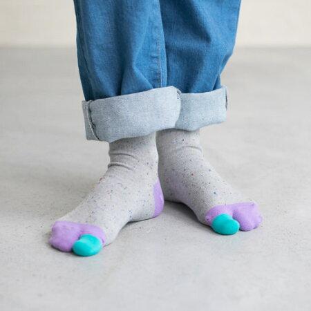 【靴下屋】キッズネップカラフル足袋ソックス19〜21cm/靴下タビオTabioくつ下クルー足袋たびタビキッズ子供子供用靴下日本製