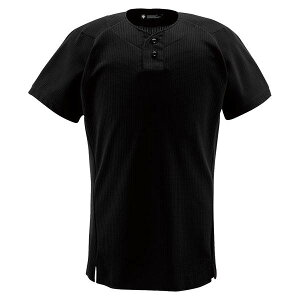 デサント(DESCENTE)ユニフォームシャツハーフボタンシャツブラック(ds-db1012-blk) メンズ 野球 ソフトボール 練習用 シャツ 半袖 大きいサイズ 小さいサイズ ボタン ブラック 黒