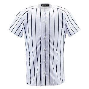 デサント(DESCENTE)ユニフォームシャツフルオープンシャツ(ワイドストライプ)(ds-db6000-swnv) メンズ レディース 野球 ソフトボール ユニフォーム トップス 練習用 シャツ 半袖 大きいサイズ
